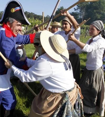 Recreación de la Batalla de Casal do Eirigo, en Valga